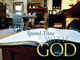 Bible Clip-Art photograph on table with Spend Time with God caption