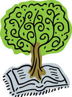 Bible Clip-Art image of open Bible with tree springing up from center of Bible
