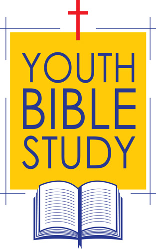 Bible Clip-Art of Bible, Cross and message of Youth Bible Study as a caption