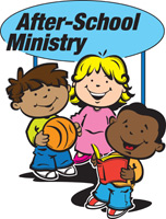 Bible Clip-Art for Kids with two boys, one girl, basketball, book and AFTER-SCHOOL MINISTRY caption