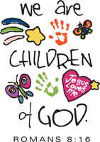 Bible Clip-Art for Kids with star, butterflies, hand prints, JESUS LOVES ME heart and WE ARE CHILDREN OF GOD ROMANS 8:16 Scripture caption
