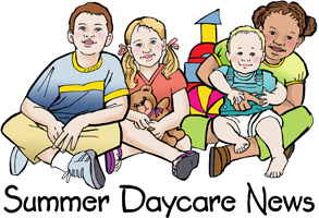 Bible Clip-Art for Kids with children sitting cross-legged on the floor and SUMMER DAYCARE NEWS caption