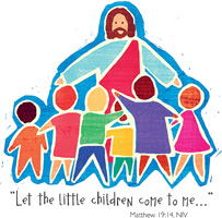 Bible Clip-Art for Kids with children gathered around Jesus and LET THE LITTLE CHILDREN COME TO ME MATTHEW 19:14 Scripture caption