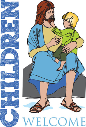 Bible Clip-Art for Kids with child sitting on the lap of Jesus and CHILDREN WELCOME captiomn