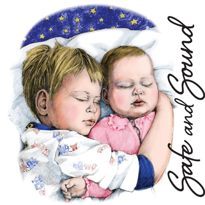 Bible Clip-Art for Kids with young boy and baby sleeping with arms around each other and SAFE AND SOUND caption