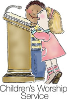 Bible Clip-Art for Kids with boy and girl standing at podium or lectern and CHILDREN'S WORSHIP SERVICE caption