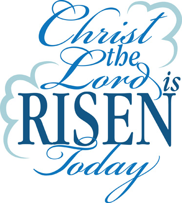 Christ The Lord Is Risen in Blue Caption