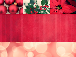 Christmas bulbs, holly and poinsettia as background photo