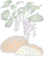 Grapevine with grapes and loaf of bread for communion as background illustration