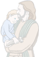Jesus holding child as background illustration