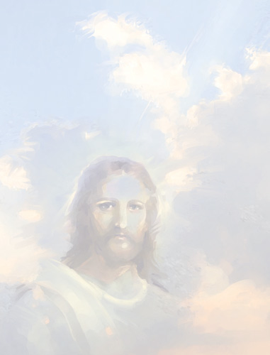 Jesus with clouds as background illustration