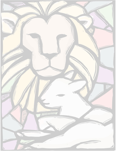 Lion and lamb lying together in style of stained glass as background illustration