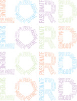 Typographic design of words forming the word LORD multiple times as background illustration