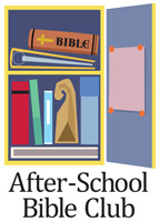 Clip-Art Image of open school locker with books and Bible and AFTER-SCHOOL BIBLE CLUB caption