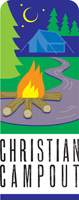 Clip-Art Image of campfire, tent, trees and moon and caption CHRISTIAN CAMPOUT