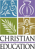 Clip-Art Image of Nativity, Mary, Joseph, Baby Jesus, baptism shell, palm frond, Crucifixion, Jesus on cross with caption CHRISTIAN EDUCATION