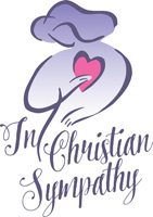 Clip-Art Image of woman holding heart and caption IN CHRISTIAN SYMPATHY