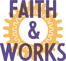 Clip-Art Image of gears with caption FAITH & WORKS