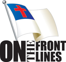 Clip-Art Image of Christian flag and caption ON THE FRONT LINES