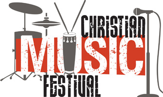 Clip-Art Image of drums, cymbals and microphone with caption CHRISTIAN MUSIC FESTIVAL