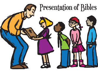 Clip-Art Image of pastor giving Bibles to four young boys and girls and caption PRESENTATION OF BIBLES