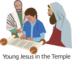 Clip-Art Image of young Jesus reading a scroll in the temple with two elders and caption YOUNG JESUS IN THE TEMPLE
