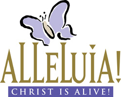 Christian Easter Graphic with Butterfly and Alleluia Christ Is Alive Caption