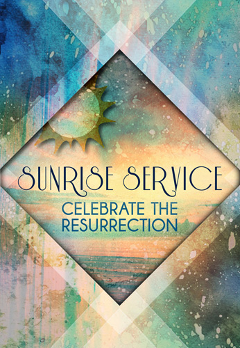 Christian Easter Graphic of Bulletin Cover art with Sunrise Service Graphic and Celebrate the Resurrection caption