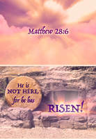 Christian Easter Graphic Photo of Tomb and Stone rolled away with He is not here caption
