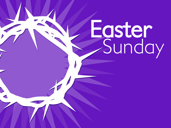Christian Easter Graphic with purple background and white crown of thorns and Easter Sunday caption
