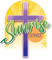 Christian Easter Graphic artwork of Sunrise Service with purple cross and Sunrise Service caption