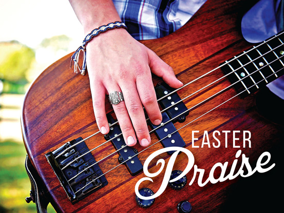 Christian Easter Graphic Guitar Photo with Praise Caption