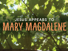 Christian Easter Graphic Leaves with Mary Magdalene caption