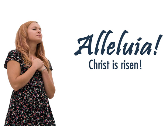 Christian Easter Graphic Photo of young woman worshipping and Alleluia caption