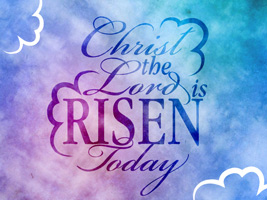 Christian Easter Graphic Photo with cloud background and Lord is Risen caption
