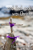 Christian Easter Graphic Photo of cross on a rock and Scripture caption