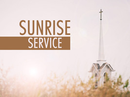 Christian Easter Graphic Photo of church steeple with Sunrise Service caption