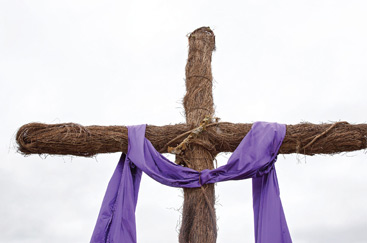 Christian Easter Graphic Photo of Wooden Cross and Purple Robe