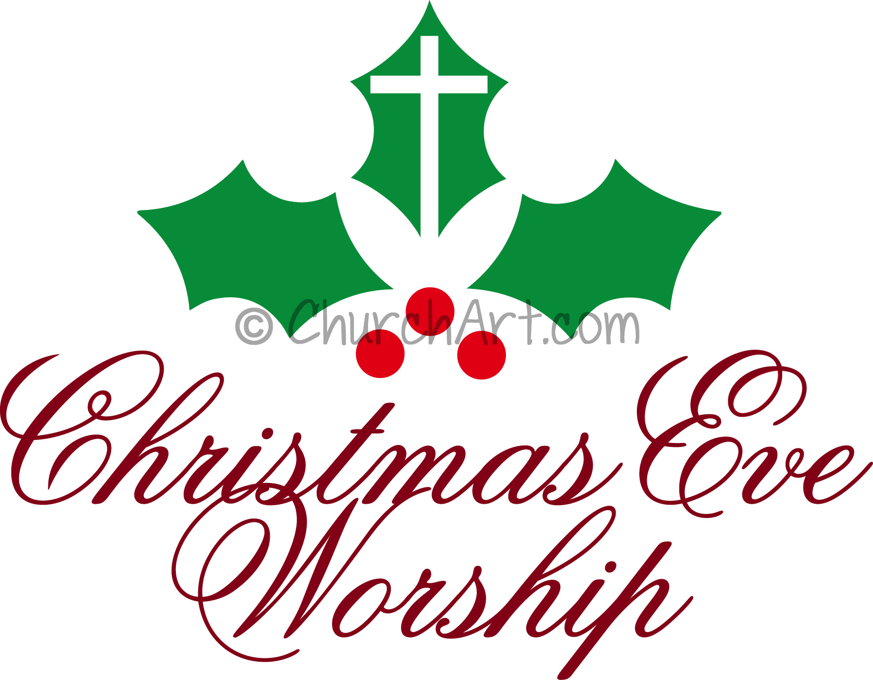 Clip-art illustration for Church Christmas Eve Worship Service featuring cross and holy