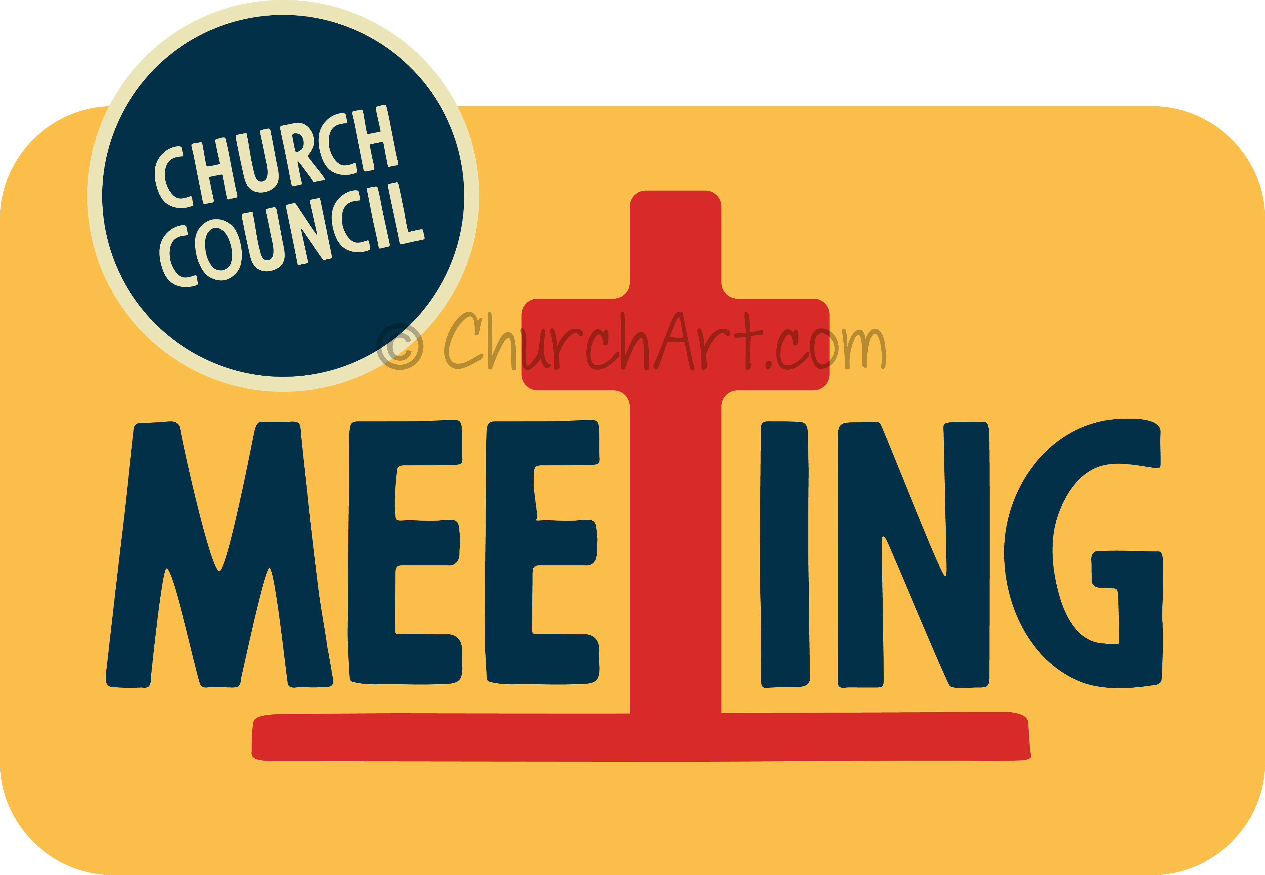 Church Council clipart image for an upcoming church council meeting announcement in church bulletin, church calendar or church newsletter featuring cross
