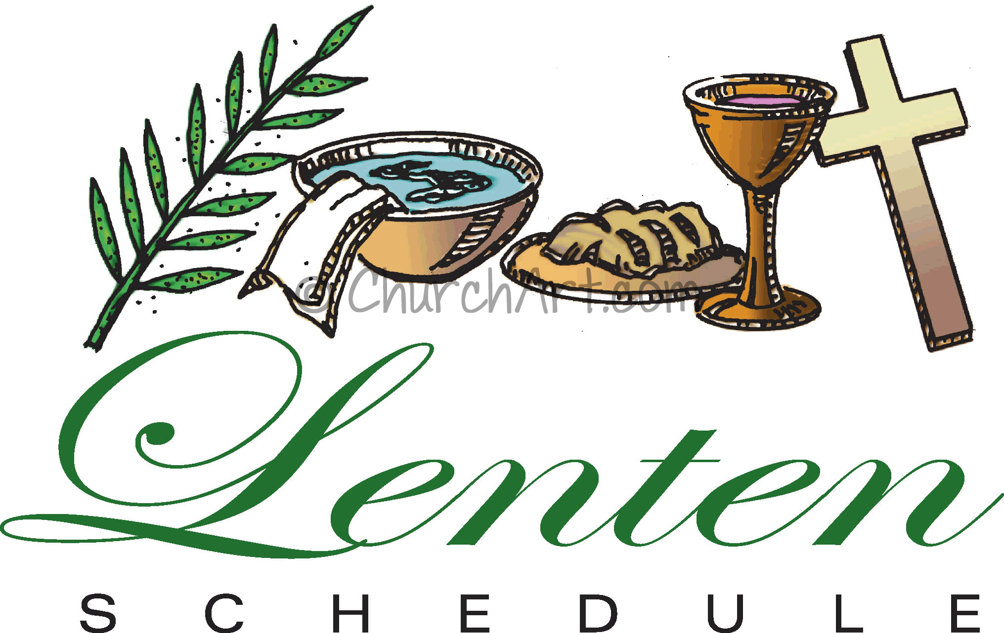 Clip-art image with Lenten symbols of a  palm leaf, cross, bread and wine for communion and wash bowl for church Lenten Schedule featured in church bulletin or church newsletter