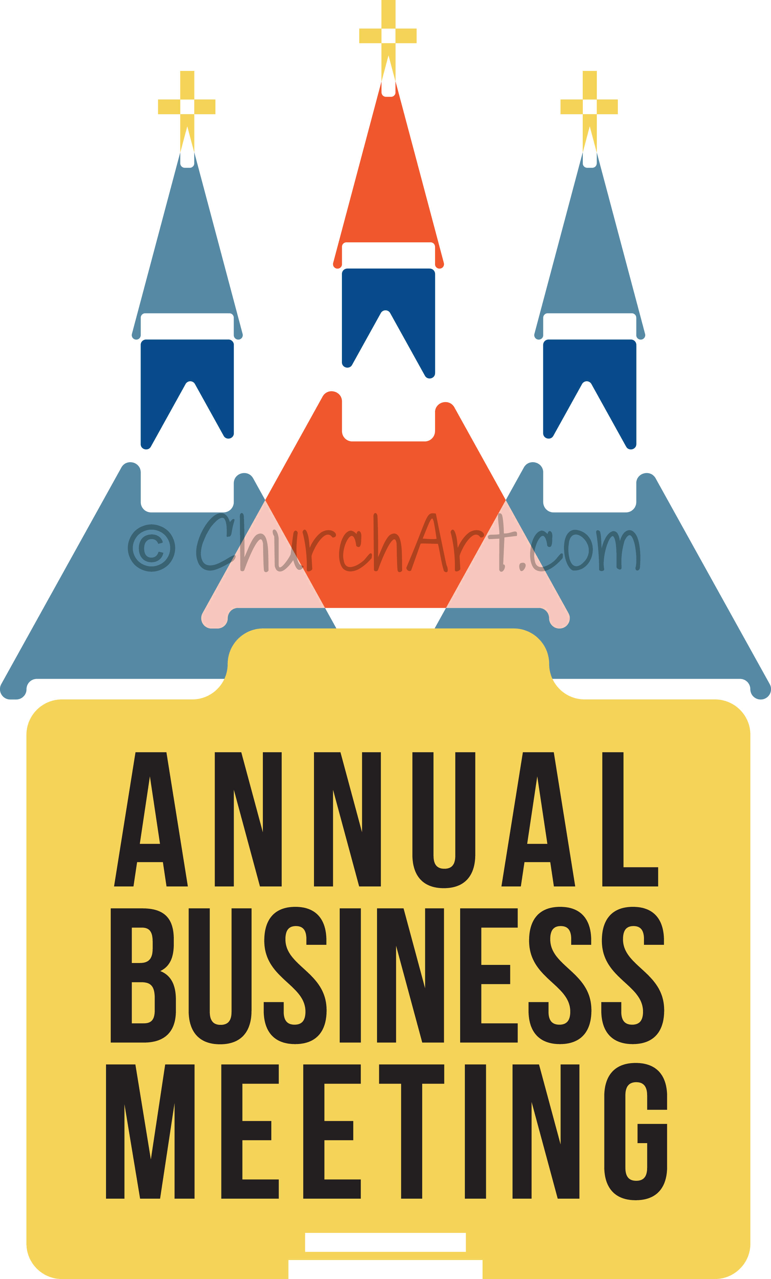 Clipart image for Church Annual Business Meeting featuring church with cross and steeple