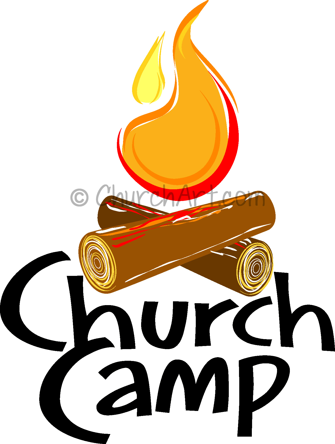 Clip art image for Church Camp featuring bonfire with logs and fire