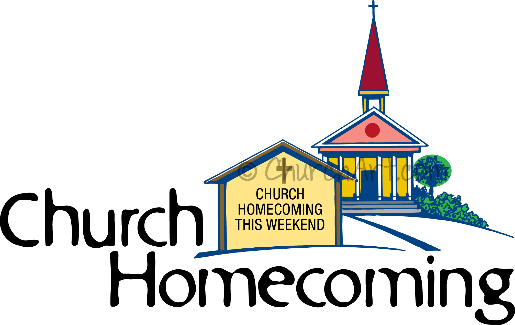Church clip art image with steeple for Church Homecoming Sunday