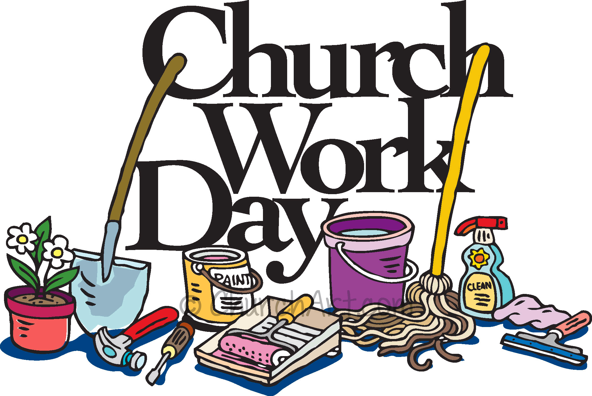 Clip-art image for church work day with mops, shovels, buckets, painting supplies and cleaning supplies