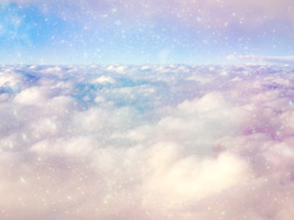 Worship Backgrounds with white fluffy clouds with a blue, purple and pink sky
