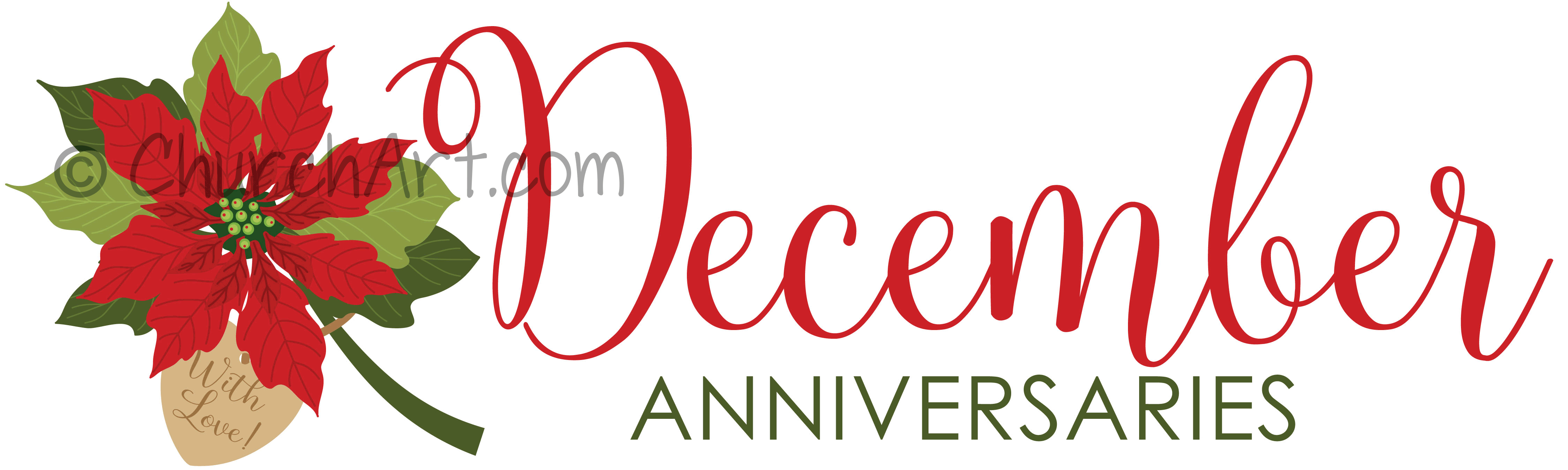 Clip art image for church anniversaries in the month of December