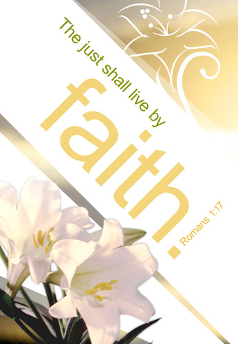 Easter Bulletin Cover with The Just Shall Live by Faith Romans 1:17