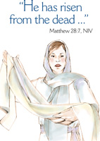 Easter Bulletin Cover with Mary Magdalene and Angle of the Lord Matthew 28:7