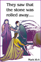 Easter Bulletin Cover with Mark 16:4 They Saw that the Stone was Rolled Away caption